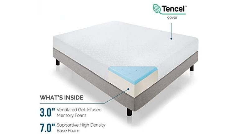 Best 10-Inch: Lucid 10-inch Memory Foam Mattress
