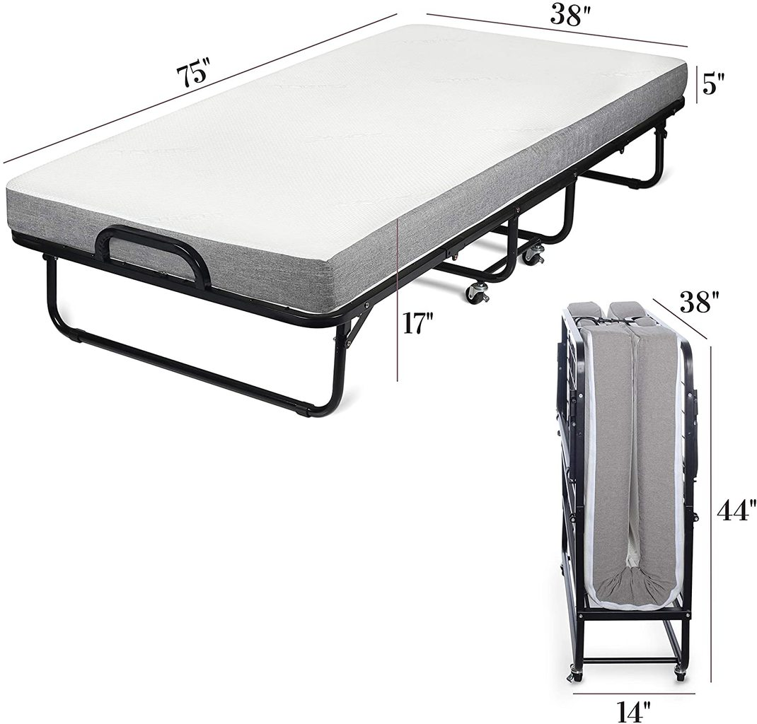 Milliard Premium Folding Bed with Luxurious Memory Foam Mattress – Easiest to Set Up