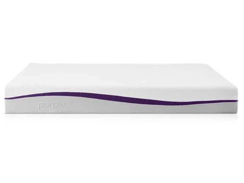 Purple mattress in a box in 2021 side view