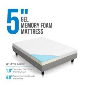 Lucid 5 inch gel memory foam mattress